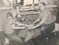 Patricia and Ted Walter collecting cedar chips at the Cedar Egg Factory