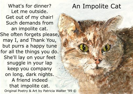 An Impolite Cat - original cat poetry and art by Patricia Walter