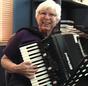 Patricia Walter playing accordion