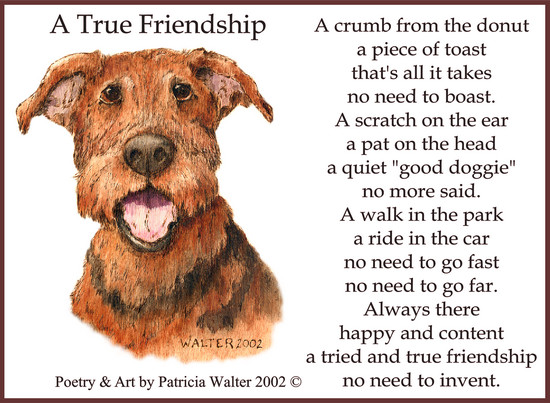 "A True Friendship  A crumb from the donut a piece of toast that's all it takes no need to boast. A scratch on the ear a pat on the head a quiet ""good doggies"" no more said. A walk in the park a ride in the car no need to go fast no need to go far. Always there happy and content a tried and true friendship no need to invent.  Poetry & Art by Patricia Walter 2002 ©"