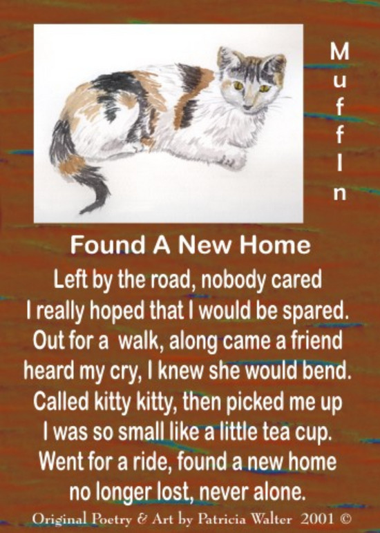 Found A New Home Dedicated to Muffin Left by the road, nobody cared I really hoped that I would be spared. Out for a walk, along came a friend heard my cry, I knew she would bend. Called kitty kitty, then picked me up I was so small, like a little tea cup. Went for a ride, found a new home no longer lost, never alone. Poetry & Art by Patricia Walter 2001 ©