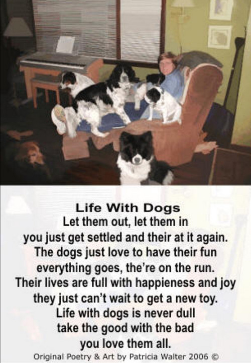 Life with Dogs Let them out, let them in you just get settled and they're at it again. The dogs jut love to have their fun everything goes, they're on the run. Their lives are full with happiness and joy they just can't wait to get a new toy. Life with dogs is never dull take the good with the bad you love them all. Poetry & Art by Patricia Walter 2006 ©