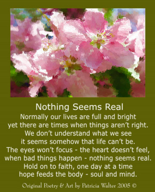 Nothing Seems Real Normally our lives are full and bright yet there are times when things aren't right. We don't understand what we see it seems somehow that life can't be. The eyes won't focus - the heart doesn't feel, when bad things happen - nothing seems real. Hold on to faith, one day at a time hope feeds the body - soul and mind. Poetry & Art by Patricia Walter 2005 ©