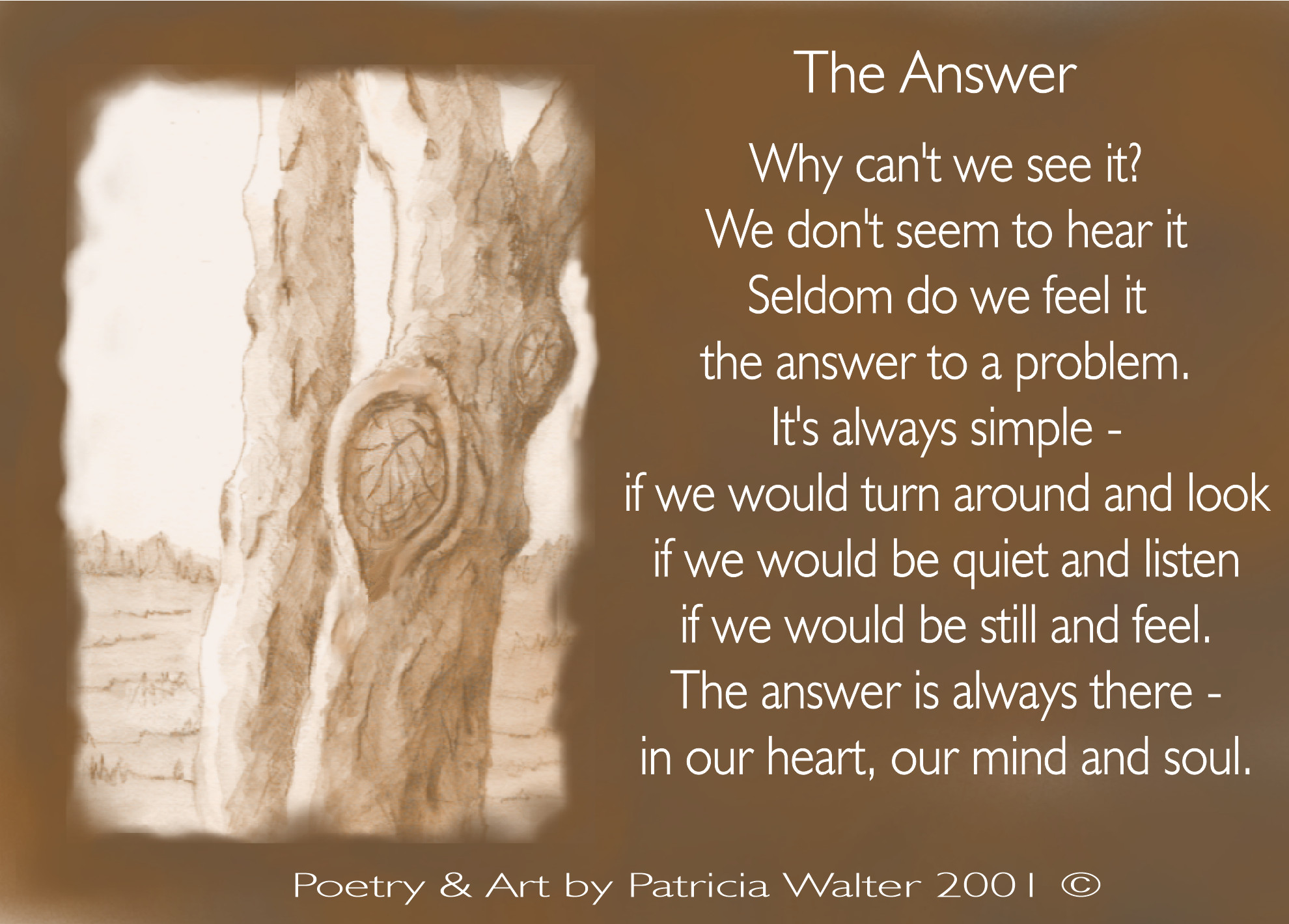 The Answer Why can't we see it? We don't seem to hear it Seldom do we feel it the answer to a problem. It's always simple - if we would turn around and look if we would be quiet and listen if we would be still and feel. The answer is always there - in our heart, our mind and soul. Poetry & Art by Patricia Walter 2001