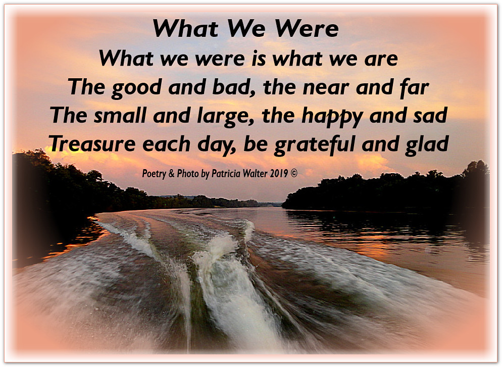What We Were What we were is what we are The good and bad, the near and far The small and large, the happy and sad Treasure each day, be grateful and glad Poetry & Photo by Patricia Walter 2019 ©