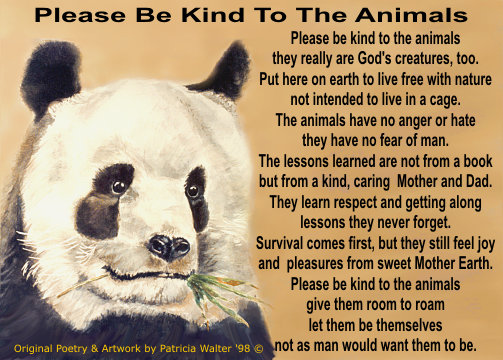 Please Be Kind To The Animals Please be kind to the animals they really are God's creatures, too. Put here on earth to live free with nature not intended to live in a cage. The animals have no anger or hate they have no fear of man. The lessons learned are not from a book but from a kind, caring Mother and Dad. They learn respect and getting along lessons they never forget. Survival comes first, but they still feel joy and pleasures from sweet Mother Earth. Please be kind to the animals give them room to roam let them be themselves not as man would want them to be. Original Poetry & Art by Patricia Walter 1998 ©