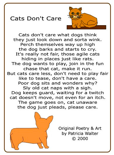 Cats don't Care Poem by Patricia Walter