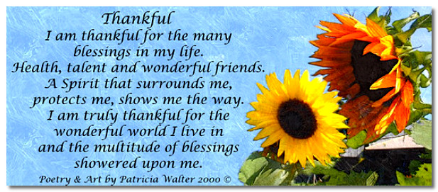 Thankful Poem by Patricia Walter